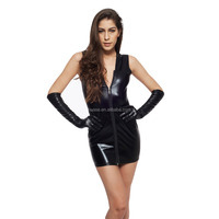 Sexy Women's Black Spandex Dress With Gloves