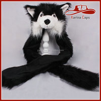 Black Husky Rave Spirit Fluffy Furry Hood Style Excellent Quality Cute Faux Fur Animal Hat with Gloves