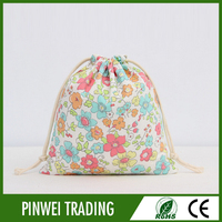 promotion custom colored cotton Muslin drawstring bag