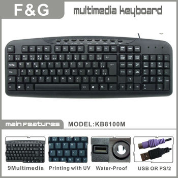 USB and PS/2 computer multimedia keyboard