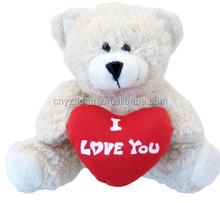 teddy bear toys with red heart i love you/soft stuffed plush bear toys with i love you