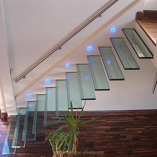 Safely laminated tempered glass tread floating stairs