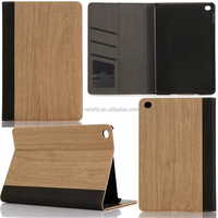 Business Style Durable Stand Book Type Wood Grain Leather Case for iPad Mini 4