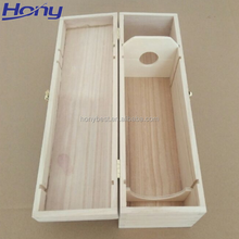 Hot Selling Cheap Rectangle Pine Natural Handle Wholesale Custom Wooden Wine Box