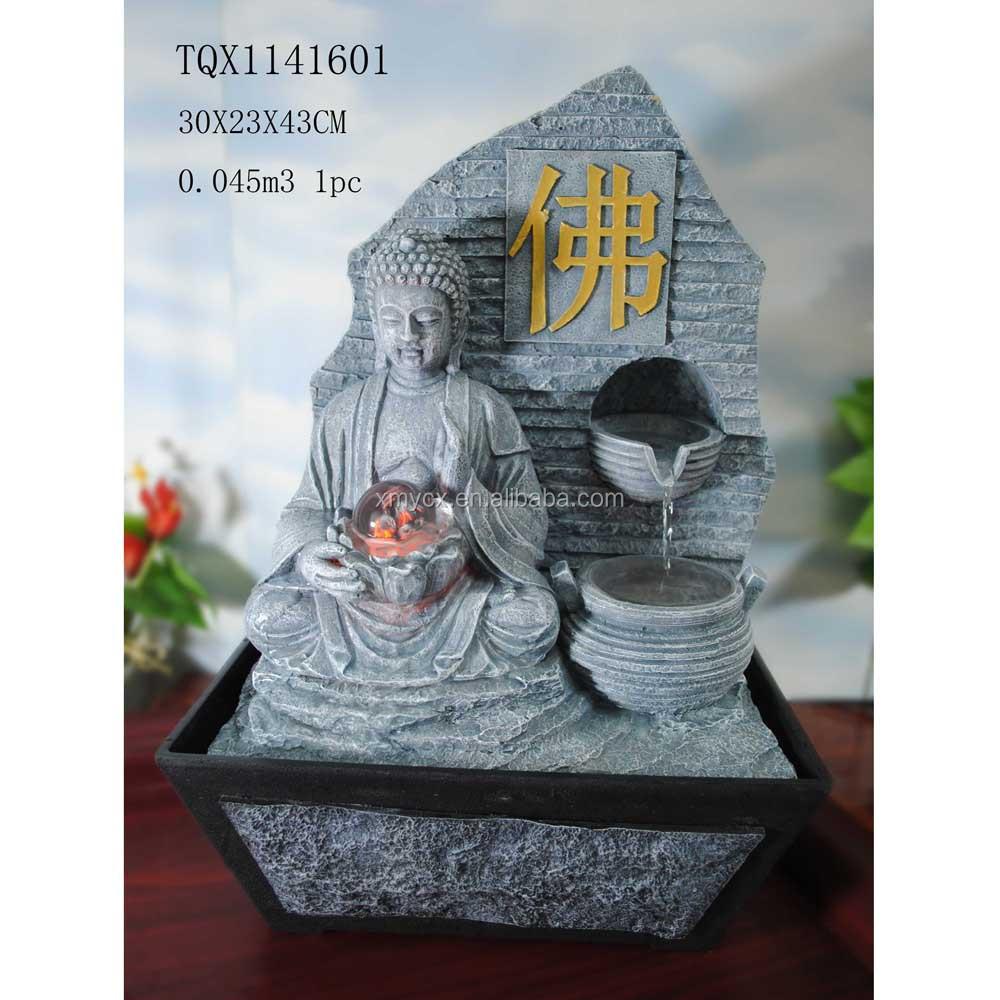 Home indoor decoration resin buddha fountain waterfall