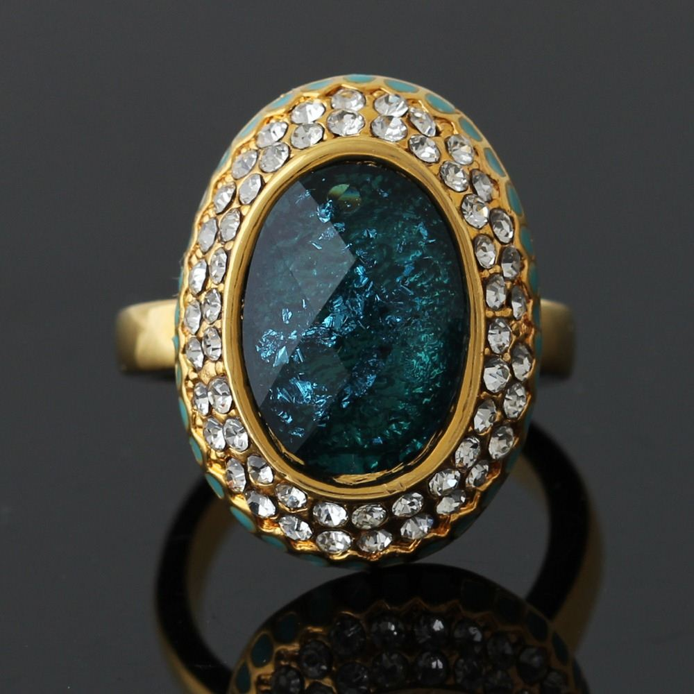 New Fashion 18K Gold Plated Ocean Blue Crystal With Rhinestones Round Rings For Women Jewelry Free Shipping J00244