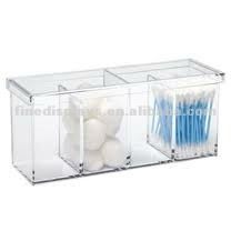 Clear Acrylic Cotton Ball/Swab Holder with 4 Compartmet (CD-F-077)