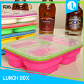 Silicone microwaveable cheap leakproof reusable bento box
