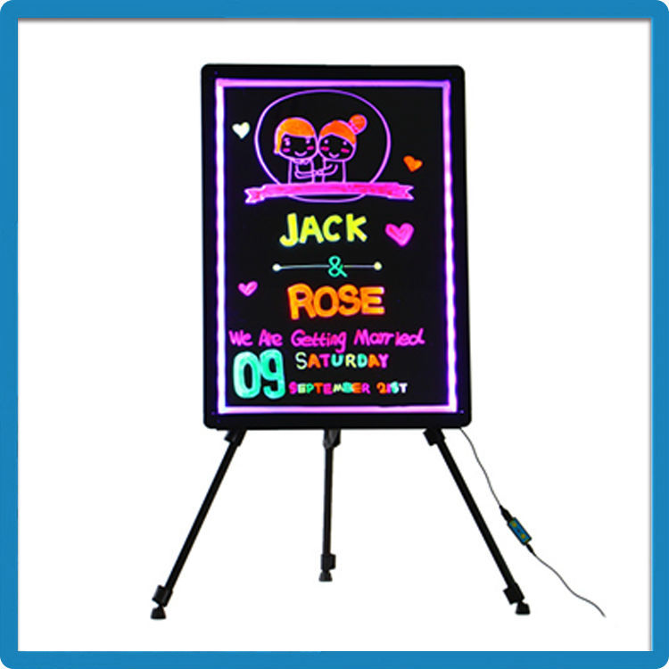 Battery powered light write erasable led message board