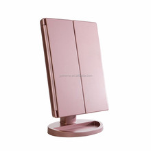 Private Label Tri-Fold 3 panels Touch screen Cosmetics Make up Mirror with LED light