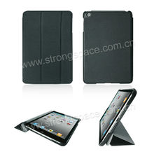 factory price for mini ipad smart cover tri-folding leather case