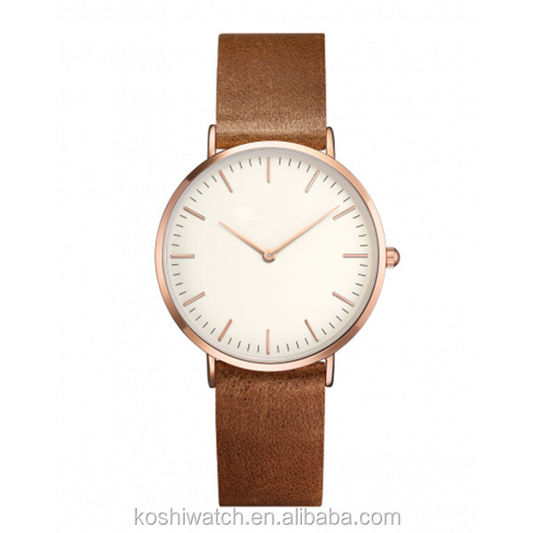 premium Eggshell white dial rose gold-plated case Brown unstitched genuine leather strap custom logo watches quartz