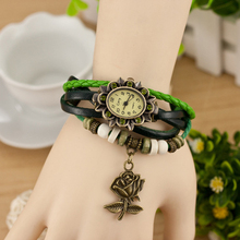 2621 Rhinestone flower vintage retro wrap bracelet watch leather wrist watch belts vintage clock