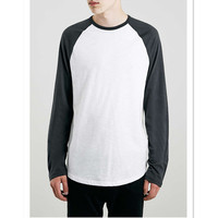 mens two colors raglan full hand t shirts