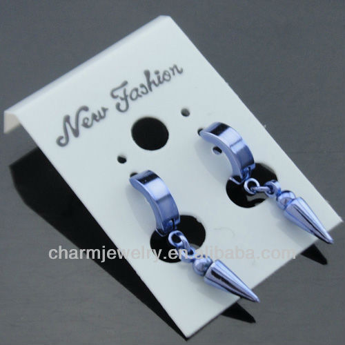 stainless steel ear piercing studs stainless steel Light amethyst earring studs HE-088-5