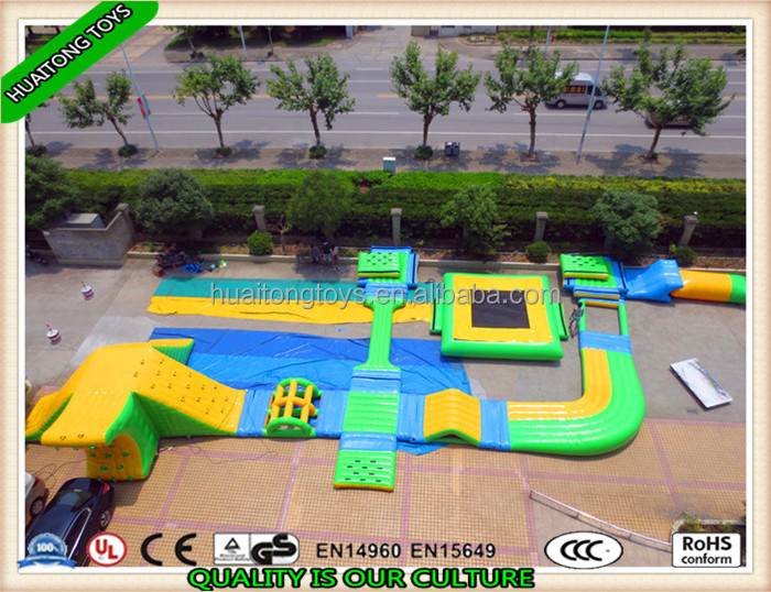 Best popular inflatable giant water aqua floating park play equipment Obstacle Trampoline Combos for sale