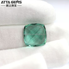 Lab Created Green Quartz 12*12mm big green Amethyst stone Guangzhou