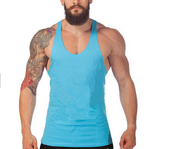 Men Cotton Stringer Bodybuilding Equipment Fitness Gym Tank Top shirt Solid Singlet Y Back Sport clothes Vest