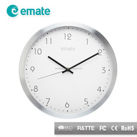 "Emate technology 12"" atomic alluminum wall clock with bushed alluminum frame"