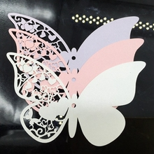 200pcs Paper Laser Cut Butterfly Shaped Wedding Tag Wish Cards Message Card