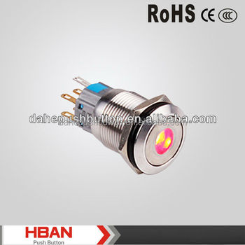 CE ROHS IP67 19mm Dot-illuminated waterproof push switches