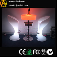 2015 latest design plastic illuminated led lighting up bar cocktail table with the footrest