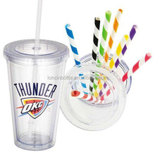 bpa free double wall acrylic tumbler acrylic straw with stopper ,striped acrylic straw,mason jar swirly straw
