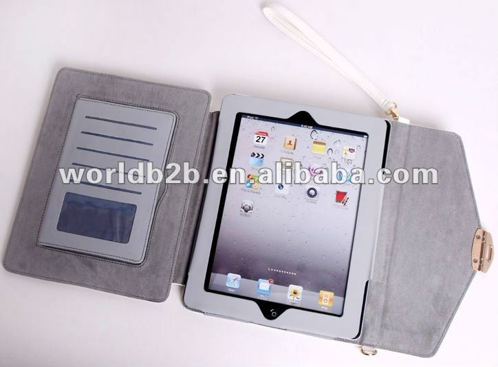 Multifunctional Leather Business Portfolio Case for iPad 2/iPad 3,inside with multipurpose card place and Stylus holder