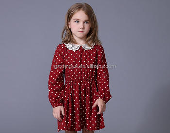 Baby girl latest dress designs 2015 cotton long sleeved maxi polka dot dress for kids garment factory OEM supply
