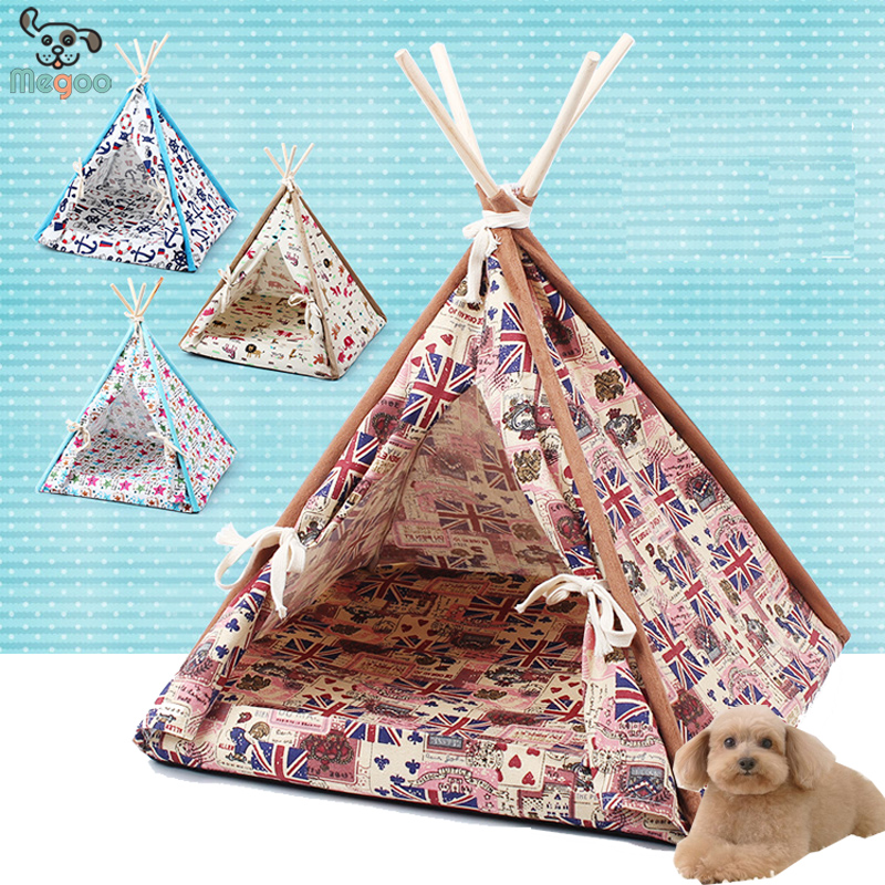 Solid Wood Stand Canvas Pet Tent Outdoor Folding Dog Bed Tent 45*45cm