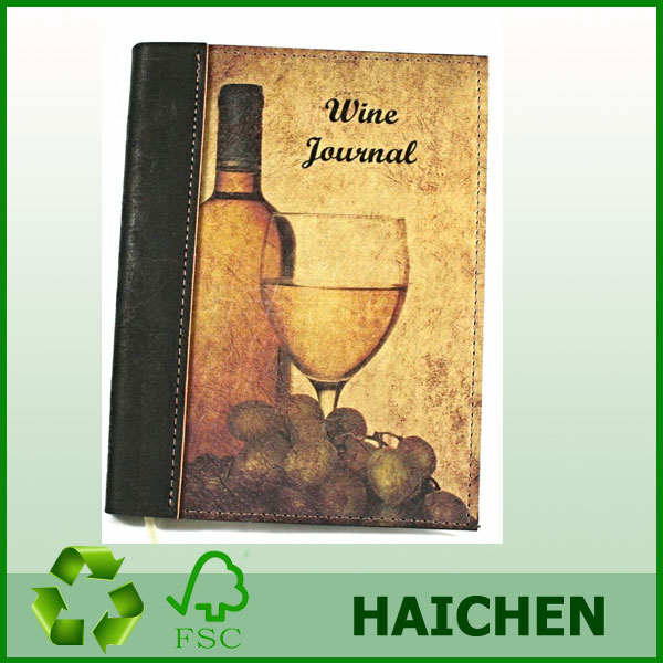 "Leather Wine Journal / Leather Wine Diary / Leather Wine Notebook - Genuine Full Grain, Saddlery Leather, 5"" x 7"" siz"