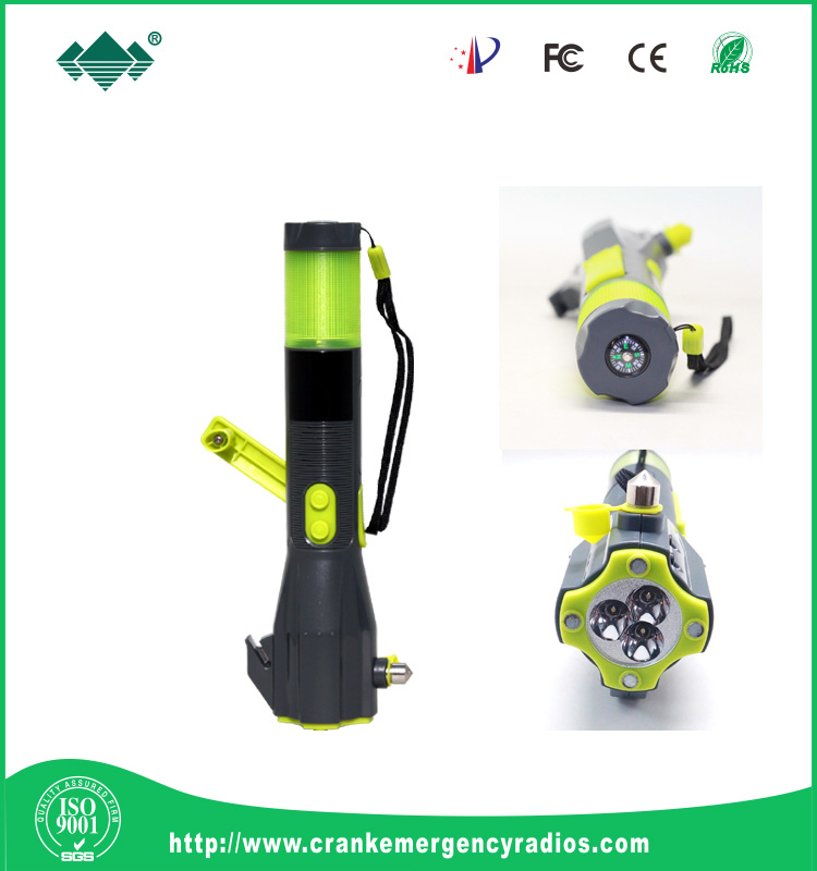 emergerncy safety hammer torch and siren /belt cutter/compass/window break glass/USB Charger