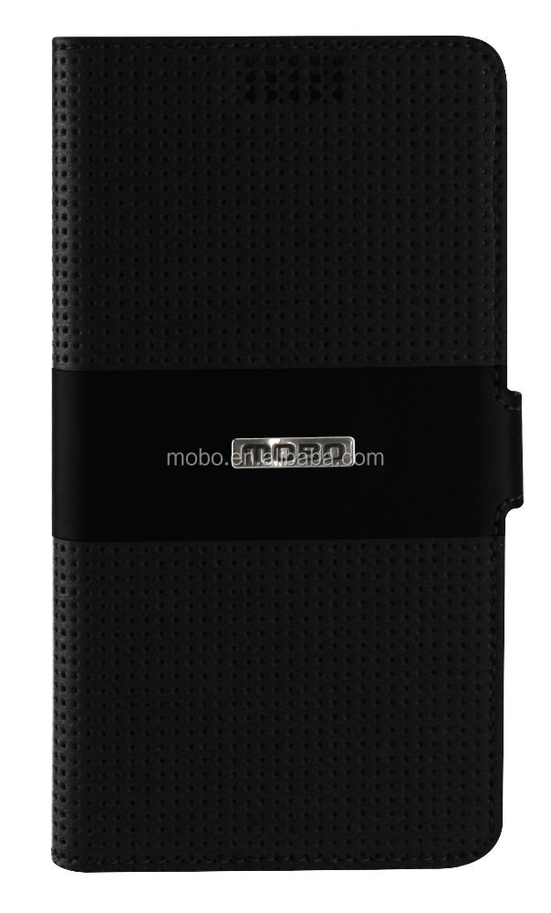 universal PU leather phone case in fashionable design in black color