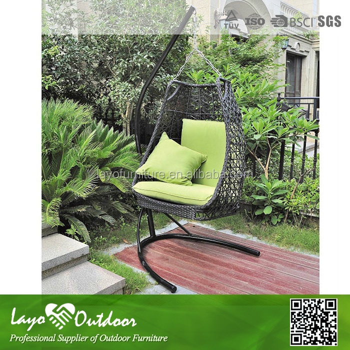 LY Professional Furniture Making Factory wicker cushioned garden rattan hanging chair cheap swing standing W12052