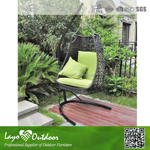 LY Professional Furniture Making Factory wicker cushioned garden rattan hanging chair cheap swing standing W12052 patio swing