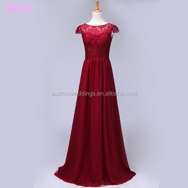 Yqlanbridal Real Photos Bridesmaid Dresses Wine Red Chiffon Lace Wedding Party Dress