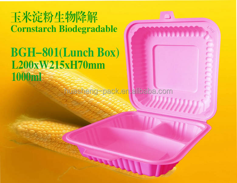 1000ml biodegradable 3 compartments disposable plastic take away lunch box