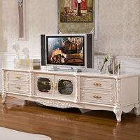 Hotsale Ivory White Hand Carved Wooden Antique Design French Baroque Tv Console