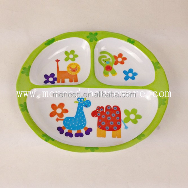 Colorful melamine kids 3 section plate for nursery children