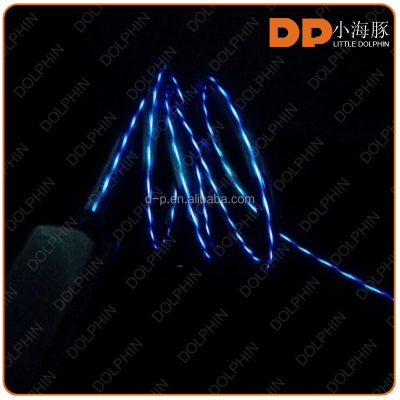 Innovative Products Flowing Color Lighted Phone Charger Cable LED EL Flashing USB Data Charging Wire for Smart Phones
