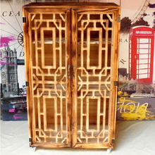 Retro wood wardrobe with two door shoe cabinet wooden furniture