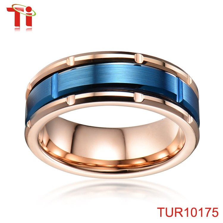 Wholesale jewelry Cross & brush mens ring sample stainless steel mens ring muslim mens ring with IP rose gold & blue