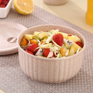 Korean Style Non-toxic Cute Wheat Straw Biodegradable Salad Bowl