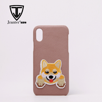 Genuine Lambskin Cell Phone Case Smart Phone Case Cover With Custom Embroidery Logo