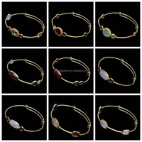 Different Types Beautiful Designs Women's Gold Plated Adjustable Glass Stone Brass Bangle