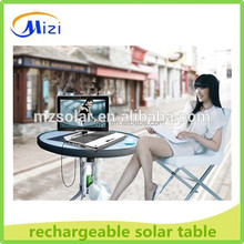 solar battery charging table, rechargeable outdoor desk