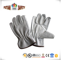 "FTSAFETY natural color 10"" Grain and Split Combination Cow Leather Driving Gloves"