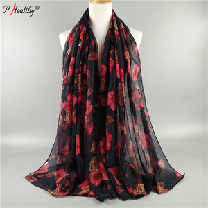 P-Healthy Mixed multi color wholesale new fashion muslim shawl voile printed scarf with rose