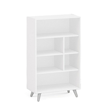 White Color 6 Open Shelf Modern Bookcase In Children Study Room