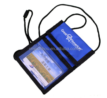 Fashion Business Card Hanging Possport Holder Neck Travel Wallet